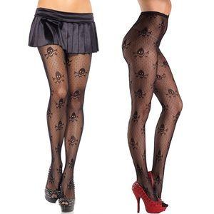 Sexy Skull & Crossbone Fishnet Pantyhose Stockings